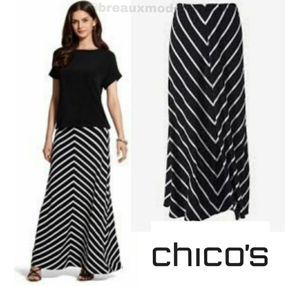dc5307509f3  L 16  Chico s - Cheerful Stripe Maxi Skirt